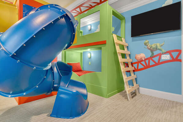 Climb up and slide down this awesome spiral slide