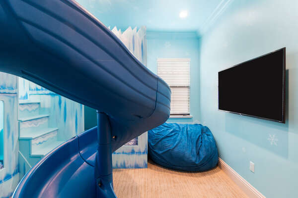 Kids will even have their own TV and comfortable bean bag to hang out on