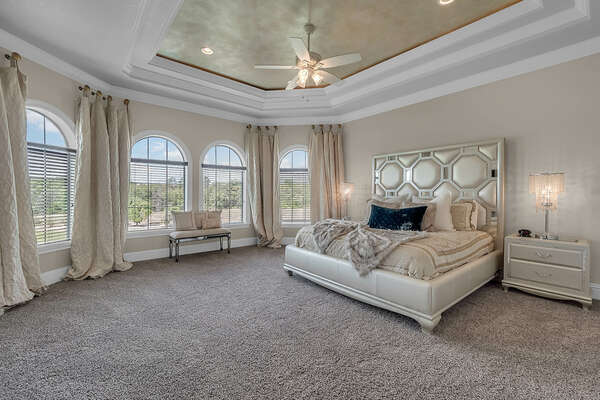 Relax in this King bedroom with a SMART TV and luxurious furnishings
