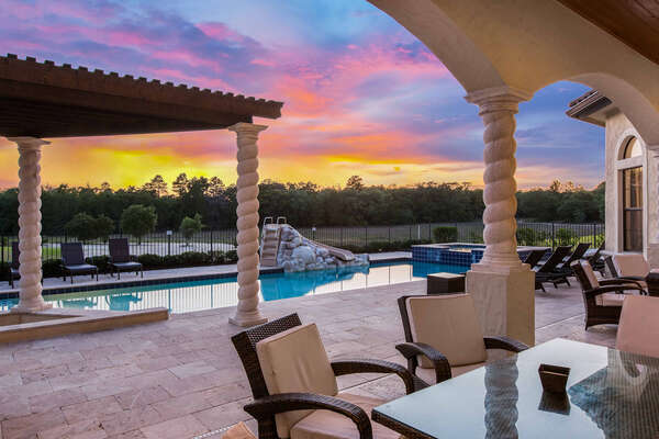 Enjoy a magical Florida sunset outside with your loved ones