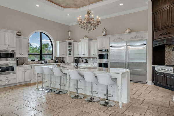 A fully-equipped kitchen complete with stainless steel appliances
