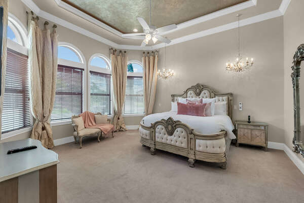 Beautiful bedroom with comfortable King bed