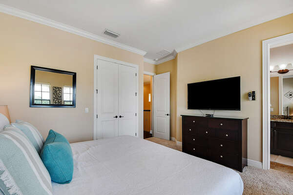 Watch a movie in this comfortable King bed