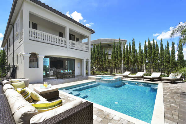 The landscaping adds extra privacy to the pool area