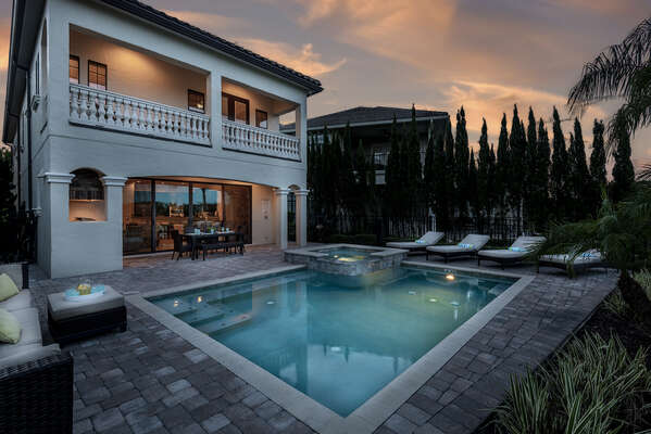 Take a twilight dip in the pool