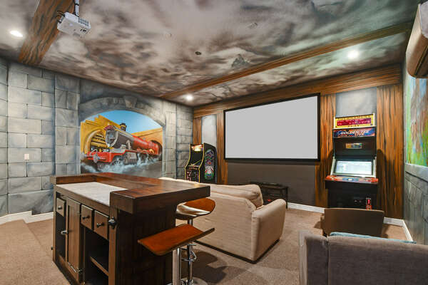 Watch a movie, play a game, or just hang out in this awesome room