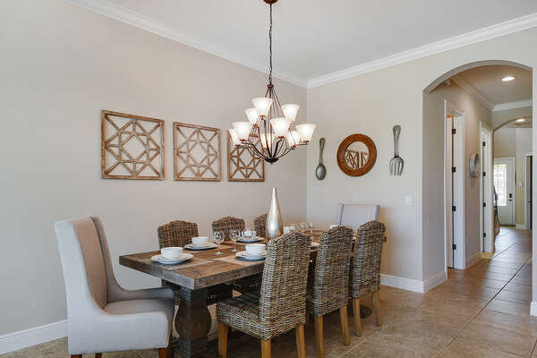 Dining table that will accommodate up to 8 guests