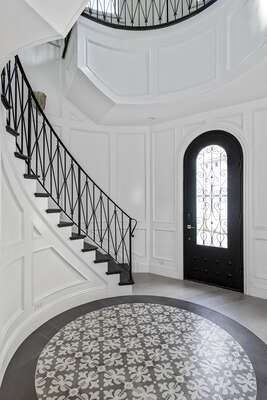 The best place to make a royal entrance to the Castle featuring a spiral staircase