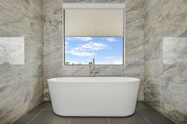 Fabulous ensuite bathroom with a luxurious garden tub