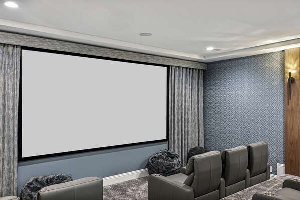 There's a 150-inch projection screen, comfortable theater seating for 15 and a popcorn machine for fresh movie theater popcorn