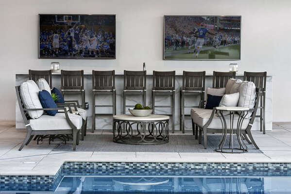 Watch the big game while floating in the pool