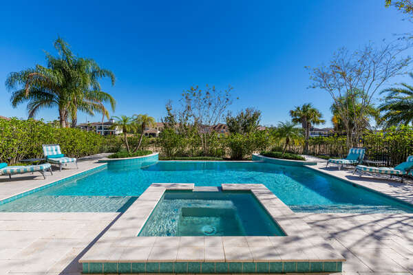 Lounge by the pool area with 4 sun loungers and beautiful view of the golf course
