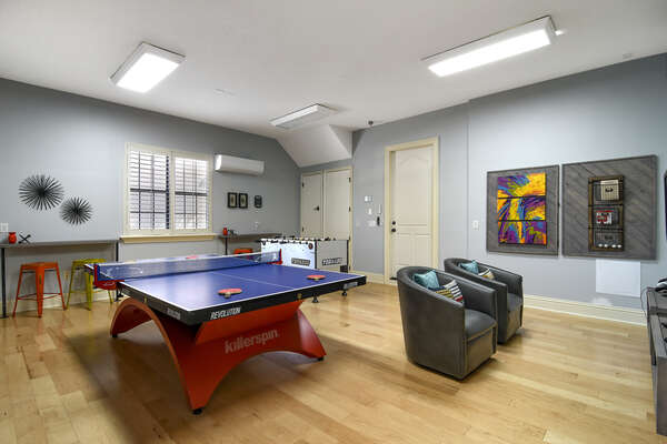 Have a friendly competition playing foosball or table tennis