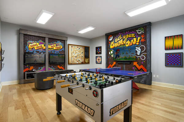 The games room features a 65-inch 4K 8 Series SMART TV and SONOS system to listen to your favorite selection of music