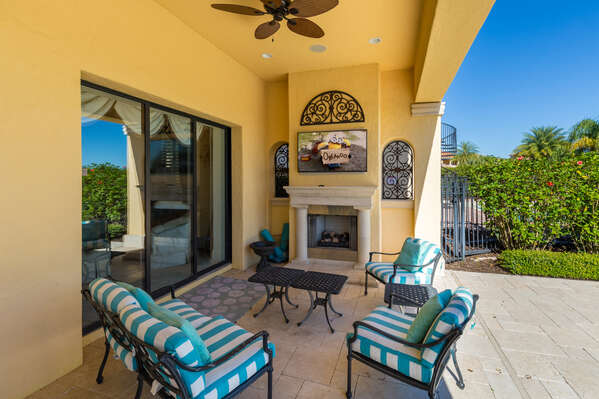 Enjoy the outdoor 55-inch SMART TV (Disclaimer: Fireplace(s) not allowed for guest use, homeowner use only.)