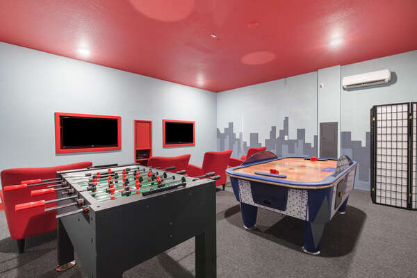 Have a blast in this super game room!