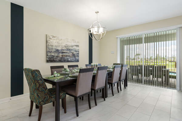 Dine together as a family at this table seating 10