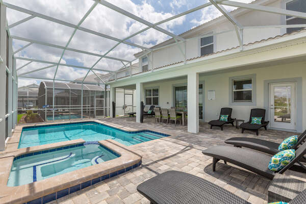 Enjoy your private screened-in pool and spa anytime