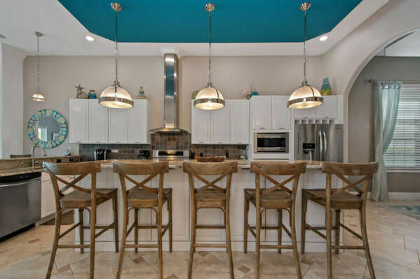 Prepare family meals in the fully-equipped kitchen