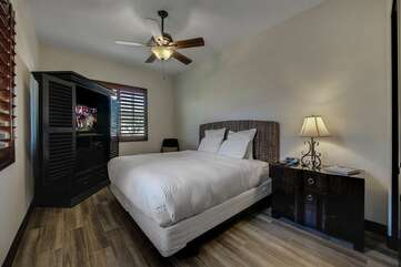 Casita bedroom has a large TV and is separated from the rest of the house with its own entrance for privacy  Bedroom 2