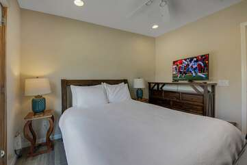 Bedroom 4 has a Queen-sized bed, Smart TV, with exterior doors to the horseshoe pit.