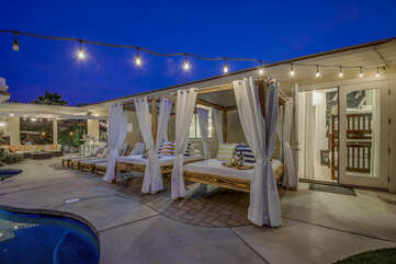 The two Vegas style cabanas will have you feeling like royalty!