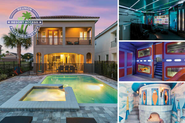 Vacation at the Fun House at Reunion, a 5 bedroom 5 and a half bathroom with a movie room, custom build kids bedrooms, game room, and a West facing private pool | PHOTOS TAKEN: January 2019
