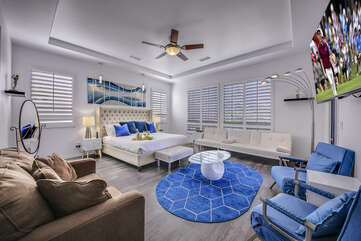 Will you be the lucky guest that can retreat in this massive Master Suite with a King-sized bed, a Full-sized sofa sleeper, a Twin-sized sofa sleeper and HDTV?