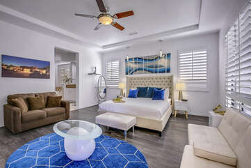 The Master Suite has private access to the patio and a private En Suite Bathroom.