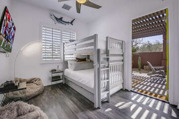Suite 4 is spacious with a Full-sized bunk bed with a Full-sized trundle, HDTV, separate bath area with large tile shower,