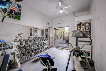 Get your sweat on in this fully equipped-private gym.