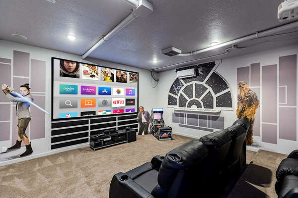 Head into the galactic theater and games room with theater seating for 7