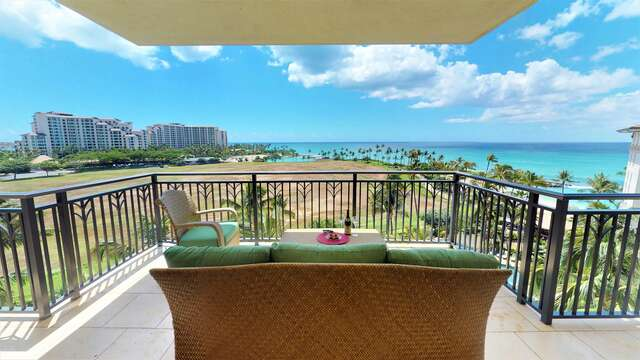 Lanai with Breathtaking Views at our Oahu Ko Olina Beach Villa