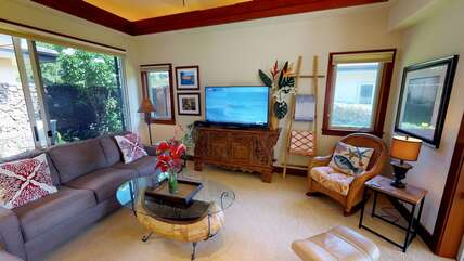 Sofa, Accent Chair, Smart TV, and Ceiling Fan