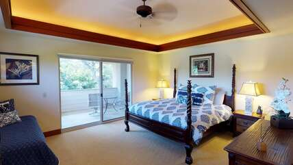 Bedroom with Private Lanai, Large Bed and Ceiling Fan