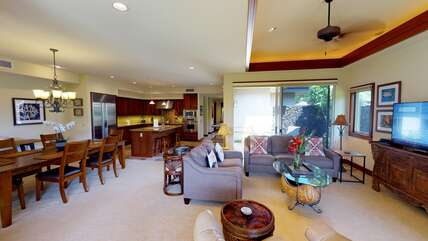 Dining Table, Chairs, Sofas, Smart TV, and Ceiling Fan