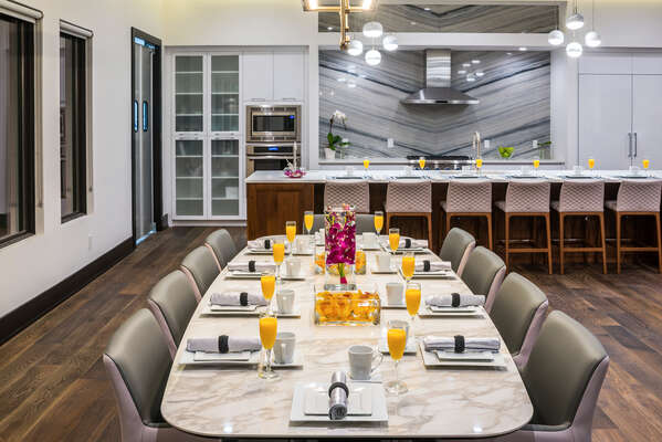 An additional dining table with seating for 10