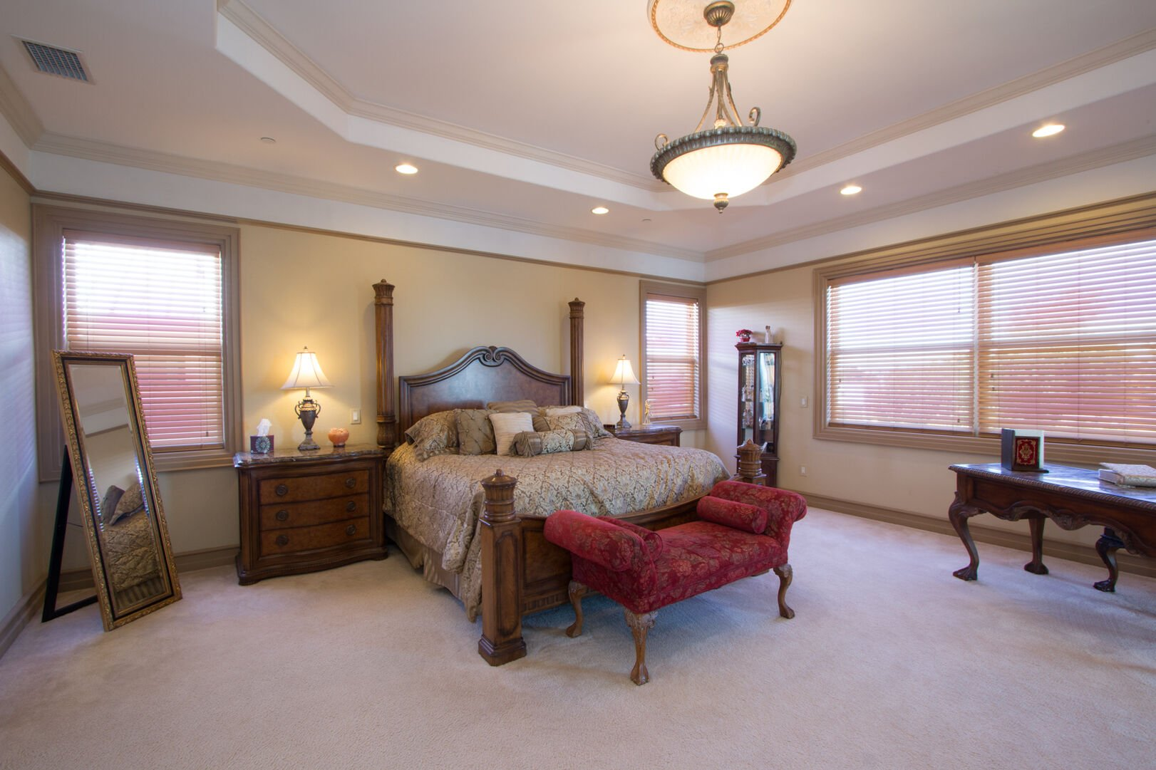 Master bedroom with king bed in our vacation home in Fort Myers Beach