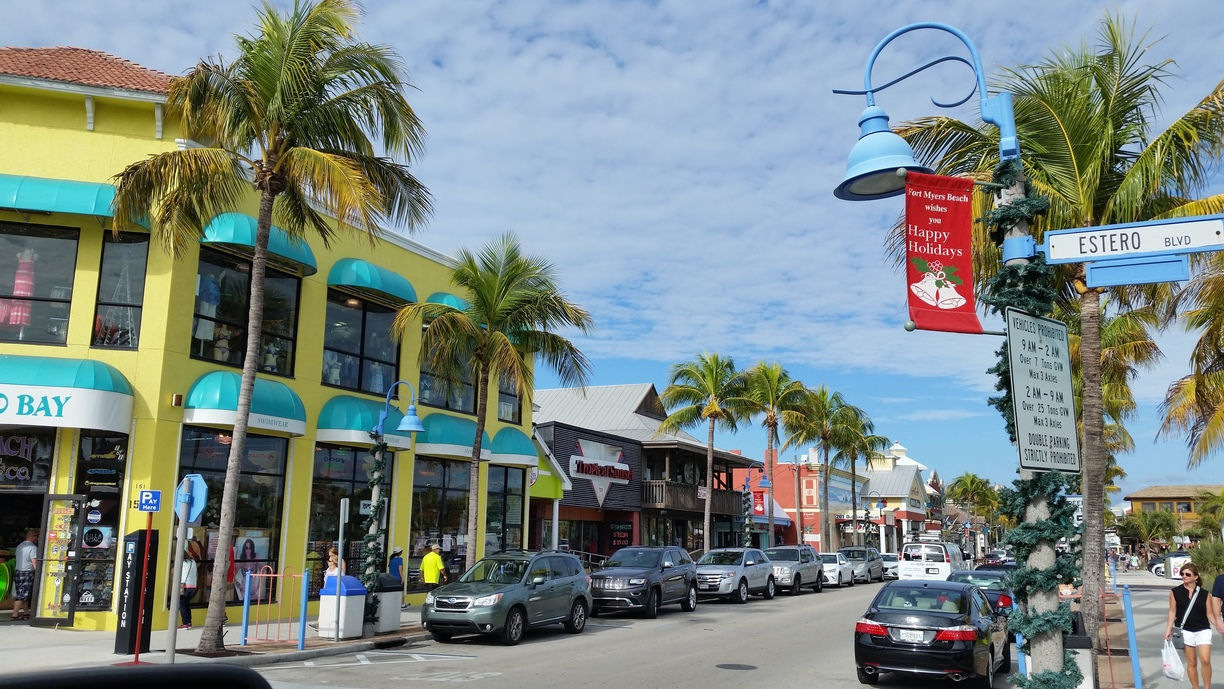 Times Square area near our vacation home in Fort Myers Beach