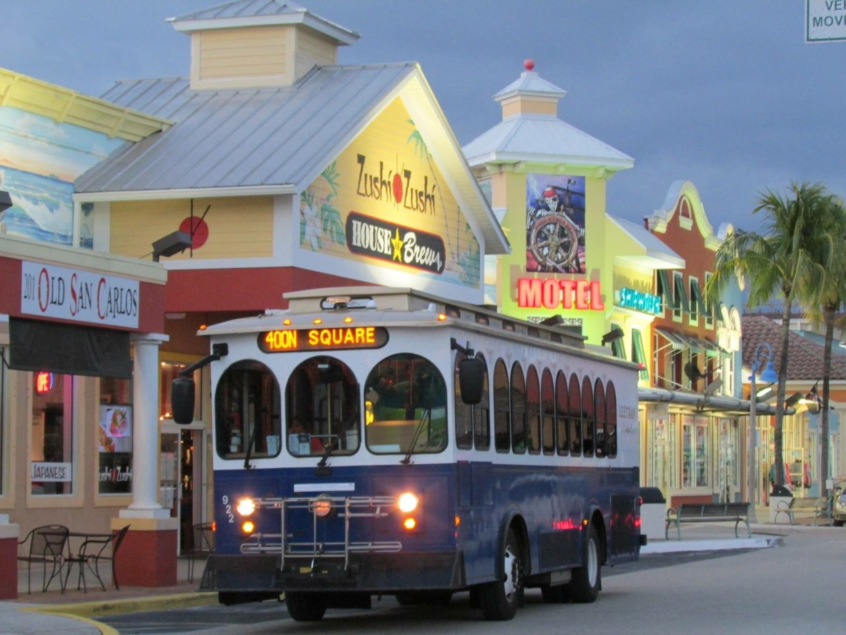 Trolley near our vacation home in Fort Myers Beach