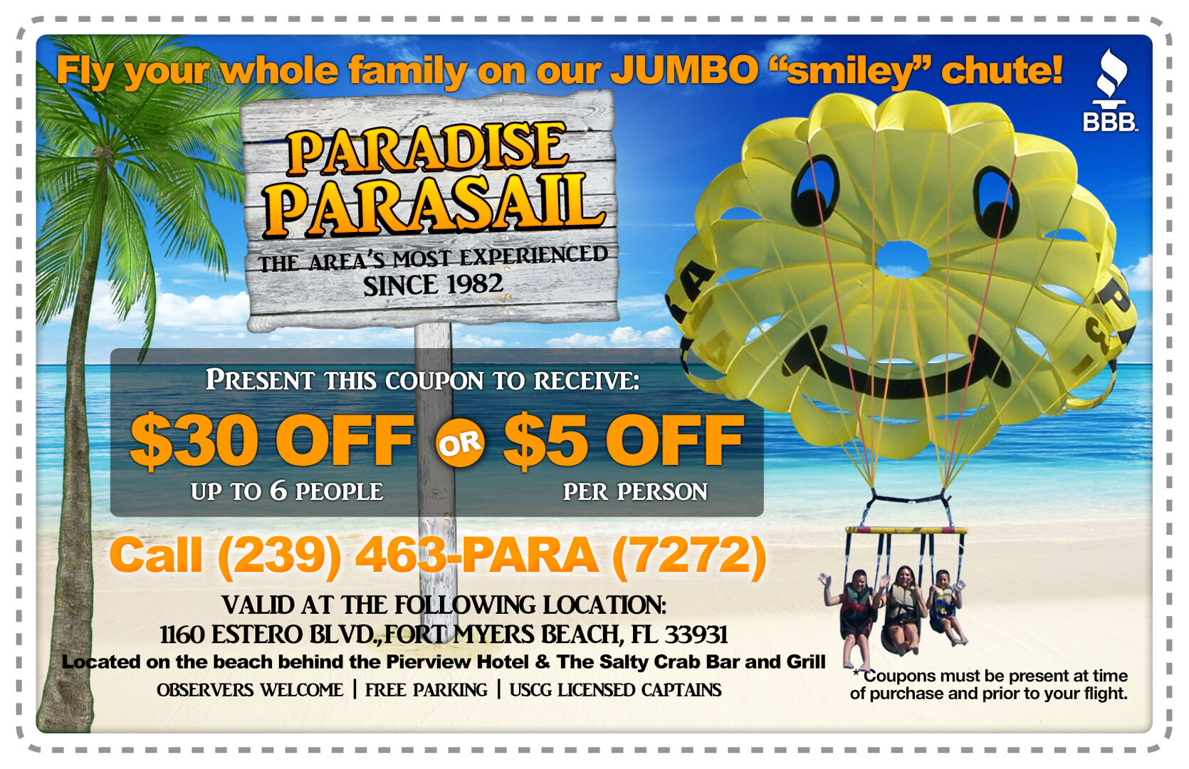 Paradise Parasail near our vacation home in Fort Myers Beach