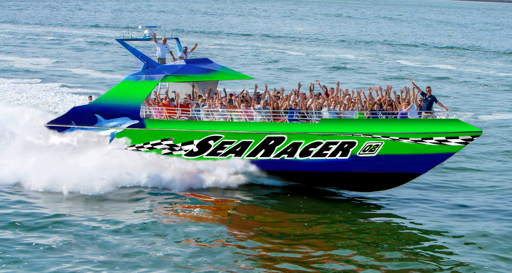 SeaRacer speed boat near our vacation home in Fort Myers Beach