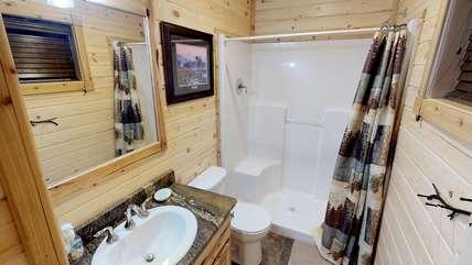Gorgeous tiled bathroom.