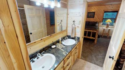 The master bathroom has a sink for you and one for your significant other.
