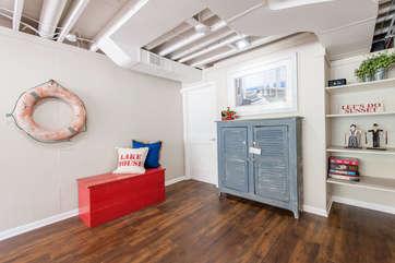 Walk-Out Basement Living Room with Sleeper Sofa