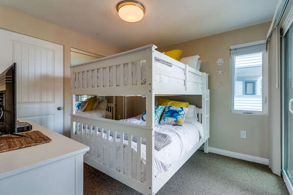 Bedroom Includes Full Bunk Bed.