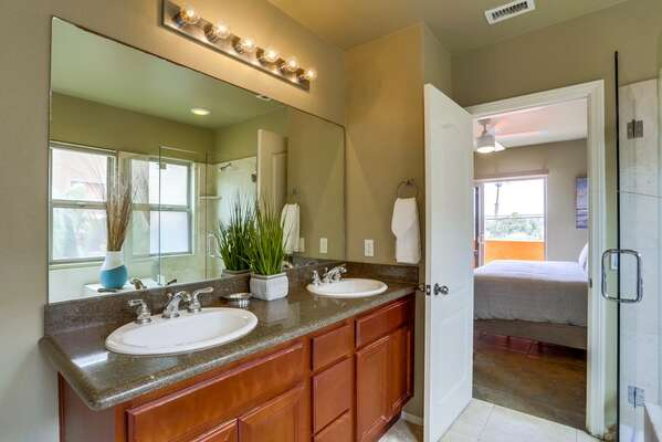 Master En-Suite Bath with double vanity sink.
