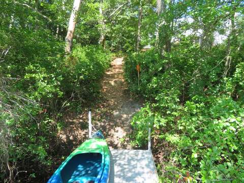 Path from the dock back up the hill to the house - 162 Owl Pond Brewster Cape Cod - New England Vacation Rentals