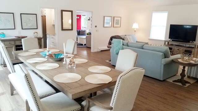 Gather together for family dining at this wonderful table, seats 10 easily! - 162 Owl Pond Brewster Cape Cod - New England Vacation Rentals