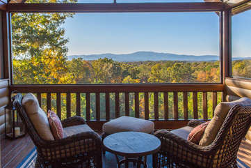 Enjoy the mountain view from the private master screened porch with a cup of morning coffee.
